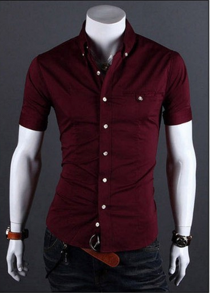 Mens Red Short Sleeve Shirt