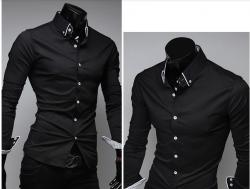Camisa social preta e branca masculina
